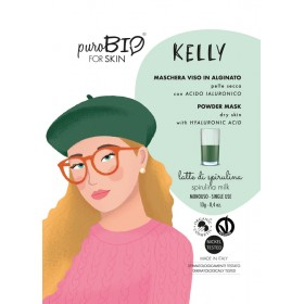 KELLY Maschera viso viso in alginato (peel off) per Pelle Secca LATTE DI SPIRULINA - puroBIO FOR SKIN