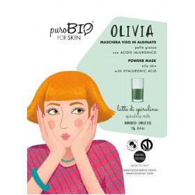 OLIVIA Maschera viso viso in alginato (peel off) per Pelle Grassa LATTE DI SPIRULINA - puroBIO FOR SKIN
